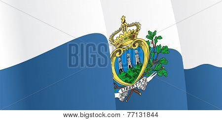 Background with waving San Marino Flag. Vector