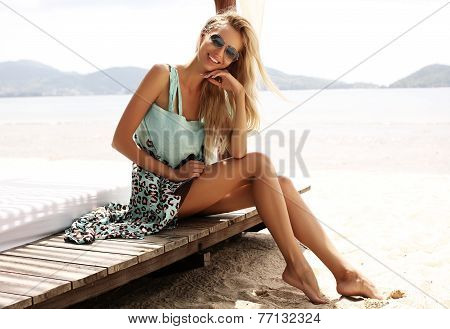 Sexy Girl With Blond Hair In Beach Clothes Enjoying Her Vacation In Thailand