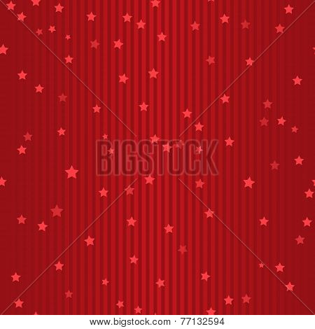 Seamless Holiday Red Striped Pattern With Stars
