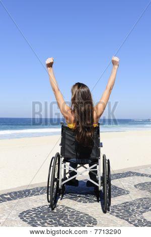 Wheelchair Person Enjoying Outdoors Beach