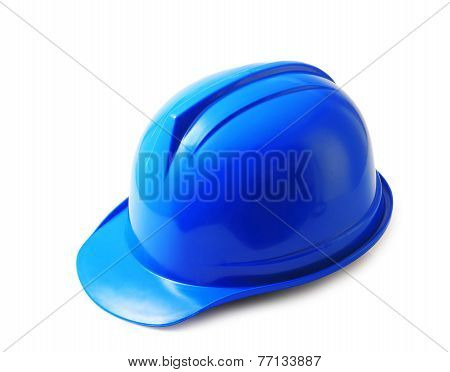 Blue Safety Helmet On White, Hard Hat Isolated Clipping Path.