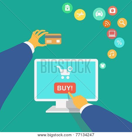 illustration poster concept with icons of buying product online shopping and e-commerce