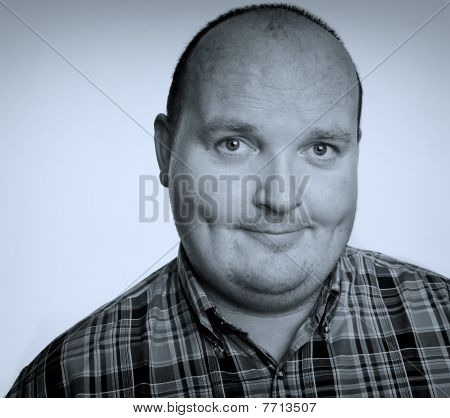 Close Up Portrait Capture Of Overweight Male