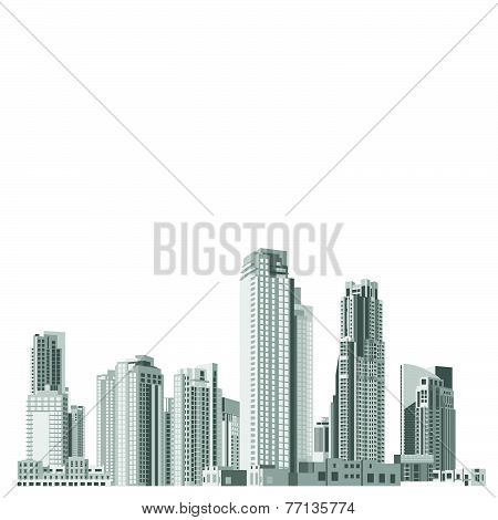 Set of vector skyscrapers with diverse architecture facades
