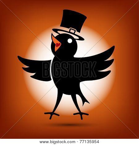Singing Cute Black Morning Bird Icon. Flat style