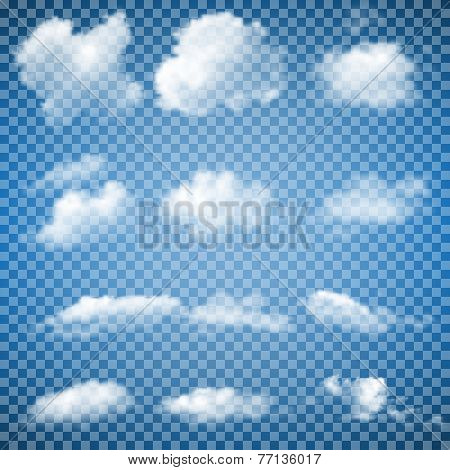 Set of Transparent Clouds (gradient mesh)