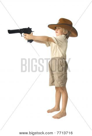 Boy Playing Sheriff