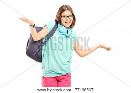 Female student gesturing with her hands isolated on white background