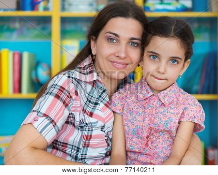 Cute Little Preschool Girl With Her Mother