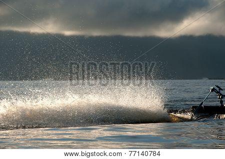 Water Spraying Out Astern.