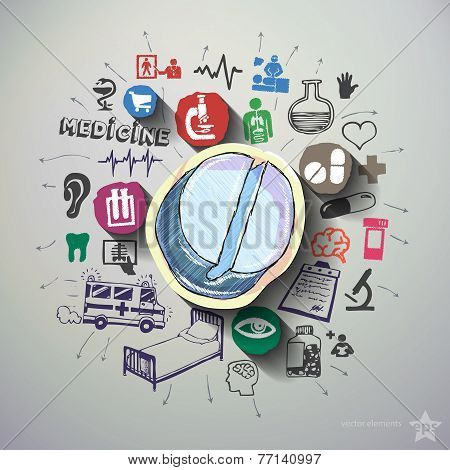Medical collage with icons background