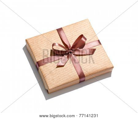 Craft gift box isolated on white background.