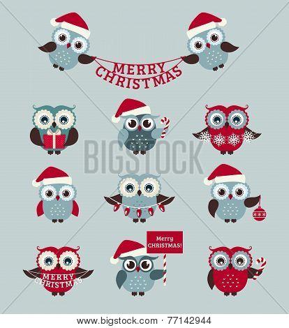 Christmas Owls. Vector Set.