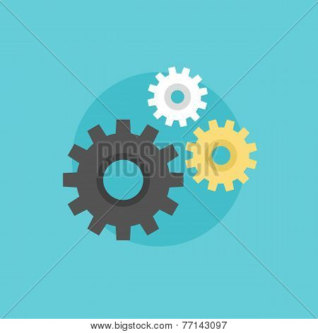 Cogwheels Flat Icon Illustration