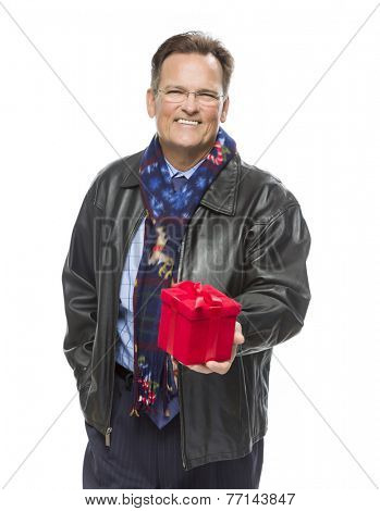 Handsome Man Wearing Black Leather Jacket and Holiday Scarf Holding Christmas Gift Isolated on White Background.