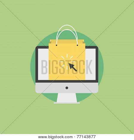 Online Shopping Flat Icon Illustration