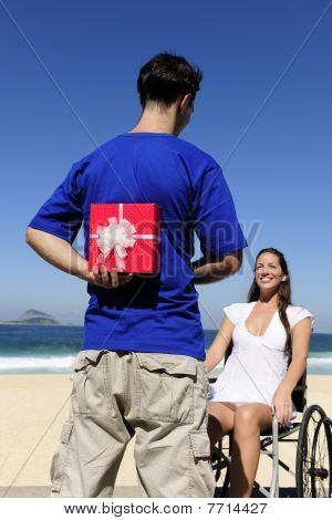 Man With A Gift For His Handicapped Girlfriend