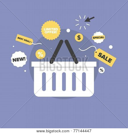 Discount Sales Flat Icon Illustration