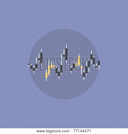 Stock Market Data Flat Icon Illustration