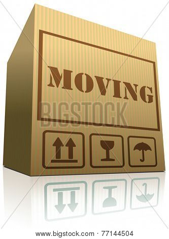 moving box cardboard brown package with text relocation vector icon
