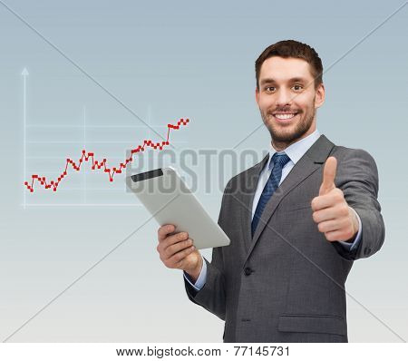 business, people, success and finances concept - smiling young businessman with tablet pc computer showing thumbs up gesture over gray background and forex graph going up