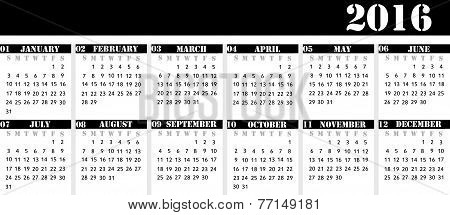 Calendar For The Year 2016 For The Desk Calendar, Strict Business Style