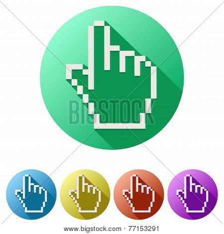 Pixel cursor flat icon click mouse hand