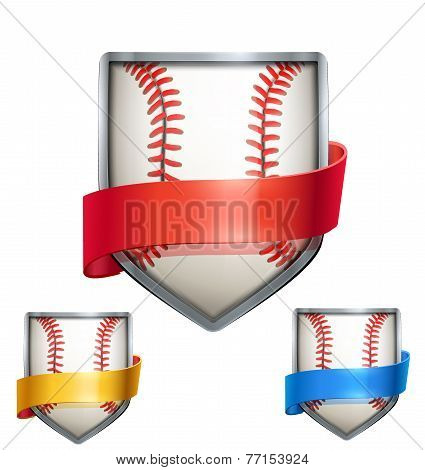 Set of Bright shield in the baseball ball inside with ribbons. Vector.