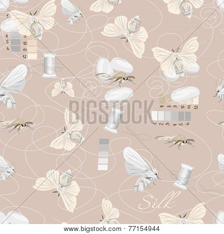 Silk cultivation brown seamless vector pattern