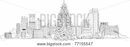 Christmas tree in London, sketch collection