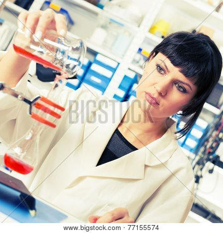 Young student woman medical / scientific research / doctor make food quality testing