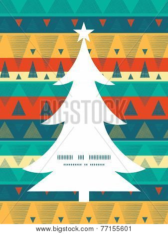 Vector vibrant ikat stripes Christmas tree silhouette pattern frame card template