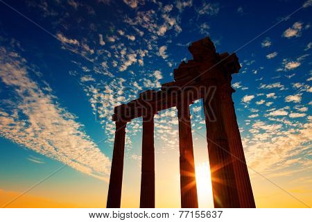 Ancient Greek ruins in the Turkish city of Side on sunset