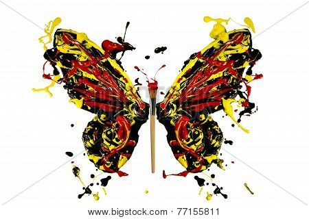 Black Red Yellow Paint Splash Made Butterfly
