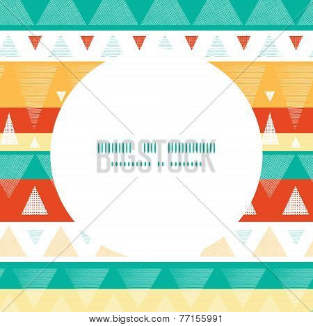 Vector vibrant ikat stripes frame seamless pattern background