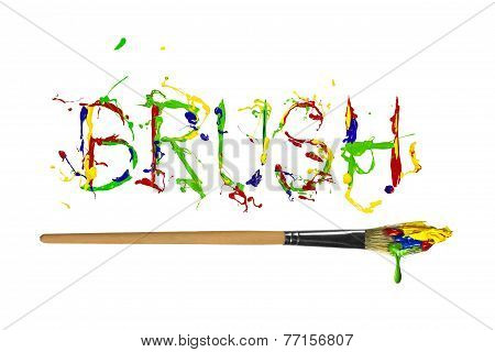 Colorful Paint Painted Word Brush