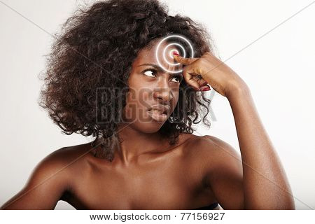 Woman Showing With Fingers On Her Forehead. Skin Problem