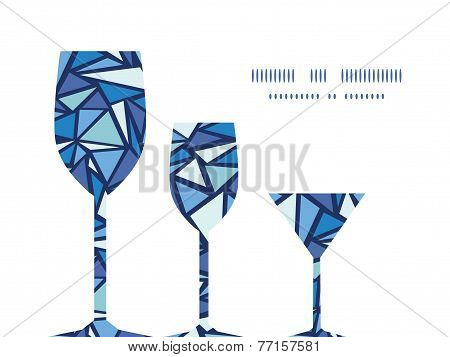 Vector abstract ice chrystals three wine glasses silhouettes pattern frame