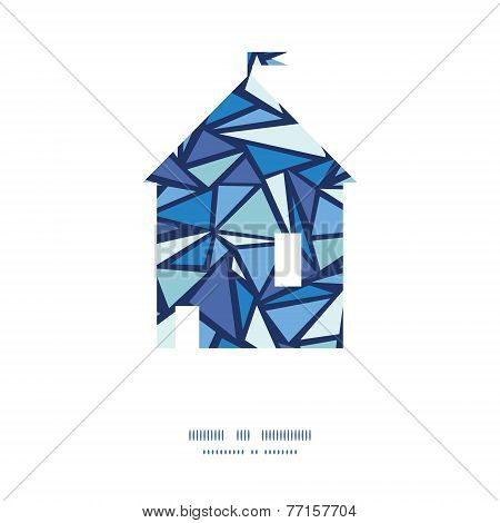 Vector abstract ice chrystals house silhouette pattern frame