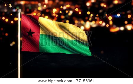 Guinea Bissau National Flag City Light Night Bokeh Background 3D