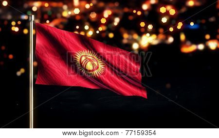 Kyrgyzstan National Flag City Light Night Bokeh Background 3D