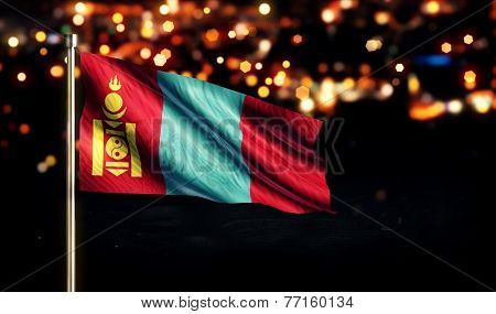 Mongolia National Flag City Light Night Bokeh Background 3D