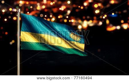 Rwanda National Flag City Light Night Bokeh Background 3D