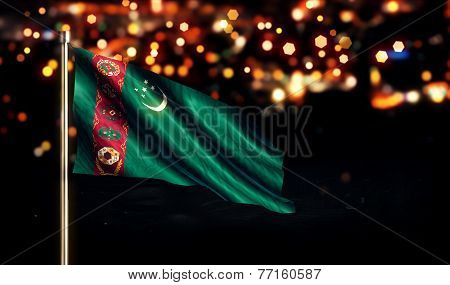 Turkmenistan National Flag City Light Night Bokeh Background 3D