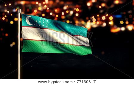 Uzbekistan National Flag City Light Night Bokeh Background 3D