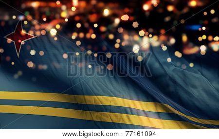 Aruba National Flag Light Night Bokeh Abstract Background