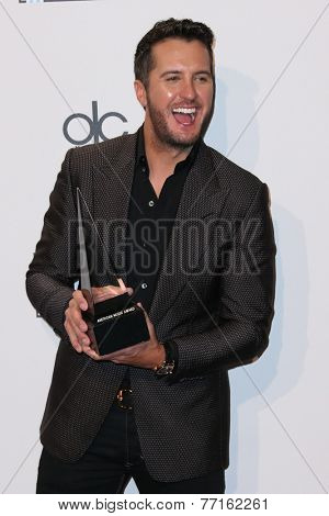 LOS ANGELES - NOV 23:  Luke Bryan at the 2014 American Music Awards - Press Room at the Nokia Theater on November 23, 2014 in Los Angeles, CA