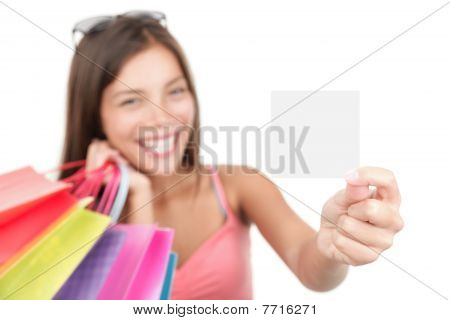 Shopping Woman Showing Sign