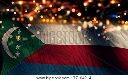 Comoros National Flag Light Night Bokeh Abstract Background