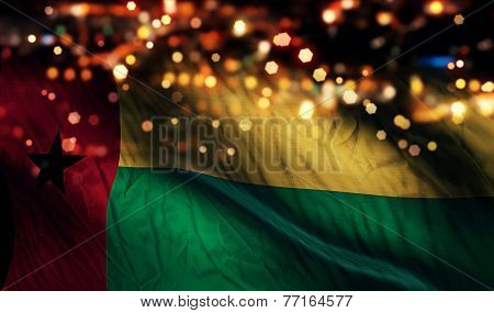 Guinea Bissau National Flag Light Night Bokeh Abstract Background
